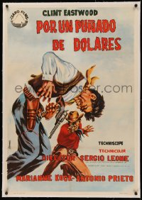 4z0066 FISTFUL OF DOLLARS linen Spanish 1965 Sergio Leone, Clint Eastwood, different gunfight art!