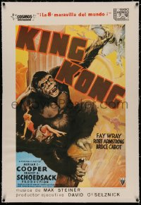 4z0067 KING KONG linen Spanish R1982 great art of giant ape holding Fay Wray & crushing plane!