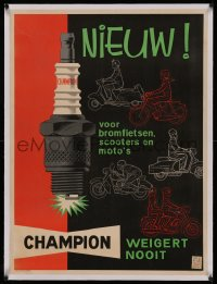 4z0145 CHAMPION SPARK PLUGS linen 25x33 Belgian advertising poster 1950s cool art of motorcycles!