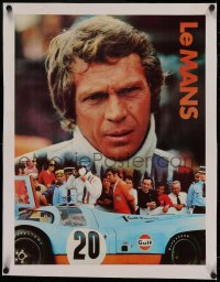 4z0157 LE MANS linen 17x22 special poster 1971 Gulf Oil, close up of race car driver Steve McQueen!