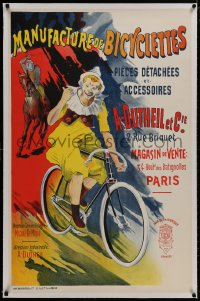 4z0161 MANUFACTURE DE BICYCLETTES linen 26x40 French commercial poster 1970s Corrois art of clown!