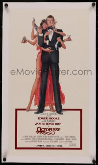 4z0158 OCTOPUSSY linen 12x22 special poster 1983 Goozee art of sexy Maud Adams & Moore as James Bond!