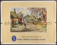 4z0045 POST OFFICE SAVINGS BANK linen 34x43 English advertising poster 1940s great art of Strachan!