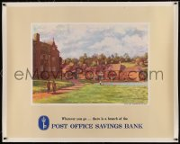 4z0048 POST OFFICE SAVINGS BANK linen 34x43 English advertising poster 1940s Yale art of Warmington!