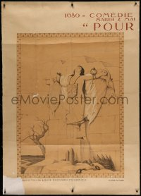 4z0036 POUR METZ linen INCOMPLETE 39x55 French stage poster 1916 Louis Edouard-Fournier art!