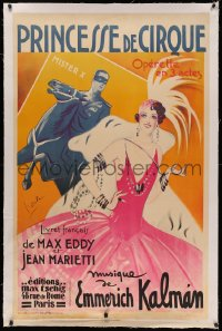 4z0037 PRINCESSE DE CIRQUE linen 30x47 French stage poster 1936 Dola art of woman & masked man, rare!