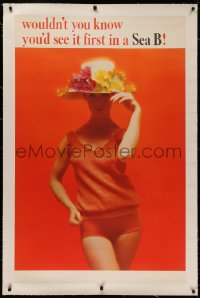 4z0044 SEA B linen 29x46 advertising poster 1960s sexy model in skimpy orange beach outfit & hat!