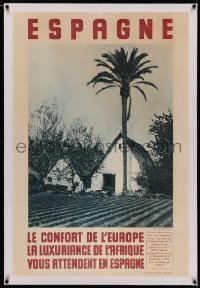 4z0118 ESPAGNE linen 26x39 Spanish travel poster 1950s photo of country farm by Barbera Masip!