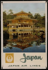 4z0119 JAPAN AIR LINES JAPAN linen 20x21 Japanese travel poster 1960s the Gold Pavillion in Kyoto!