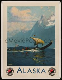4z0122 NORTHERN PACIFIC ALASKA linen 30x40 travel poster 1940s Sydney Laurence art of Eskimos at sea!