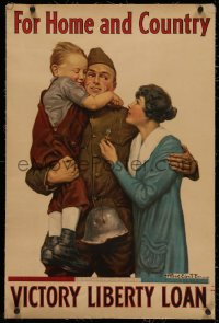 4z0128 FOR HOME & COUNTRY linen 20x30 WWI war poster 1918 Alfred Everitt Orr art of reunited family!