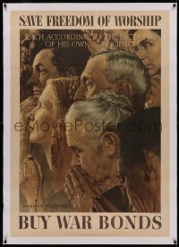 4z0129 SAVE FREEDOM OF WORSHIP linen 29x41 WWII war poster 1943 Norman Rockwell Four Freedoms art!
