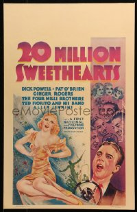 4z0164 20 MILLION SWEETHEARTS WC 1934 art of sexy Ginger Rogers, Powell & Mills Brothers, very rare!