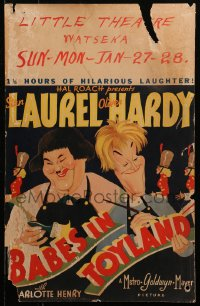4z0166 BABES IN TOYLAND WC 1934 great Al Hirschfeld art of Stan Laurel & Oliver Hardy, very rare!