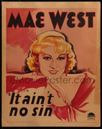 4z0168 BELLE OF THE NINETIES WC 1934 wonderful art of sexy smiling Mae West, It Ain't No Sin, rare!