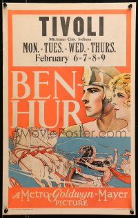 4z0169 BEN-HUR WC 1925 great close up art of Ramon Novarro and riding in chariot race, rare!