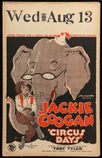 4z0173 CIRCUS DAYS WC 1923 Jackie Coogan as Toby Tyler w/ winking cartoon elephant art, ultra rare!
