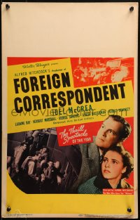 4z0176 FOREIGN CORRESPONDENT WC 1940 Alfred Hitchcock, Joel McCrea, Laraine Day, different & rare!
