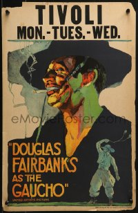 4z0177 GAUCHO WC 1927 incredible colorful close up art of suave smoking outlaw Douglas Fairbanks!