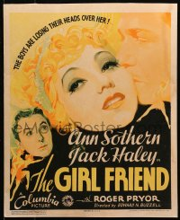 4z0178 GIRL FRIEND WC 1935 great art of sexy Ann Sothern, Jack Haley & Roger Pryor, ultra rare!