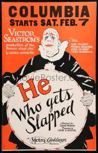 4z0181 HE WHO GETS SLAPPED WC 1924 art of Lon Chaney in full clown make up, Victor Sjostrom, rare!