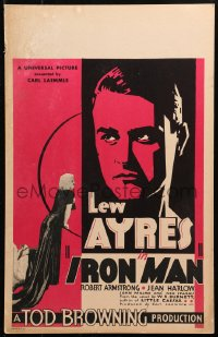 4z0183 IRON MAN WC 1931 directed by Tod Browning, headshot of boxer Lew Ayres + sexy Jean Harlow!