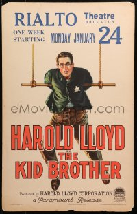 4z0184 KID BROTHER WC 1927 different art of Harold Lloyd with tin star hanging from trapeze, rare!