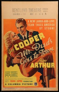4z0188 MR. DEEDS GOES TO TOWN WC 1936 best art of Gary Cooper carrying sexy Jean Arthur, Frank Capra