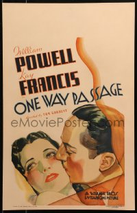 4z0190 ONE WAY PASSAGE WC 1932 best romantic art of William Powell & sexy Kay Francis, ultra rare!