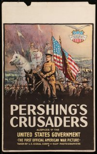 4z0191 PERSHING'S CRUSADERS WC 1918 art of World War I soldiers & medieval Crusades knights, rare!