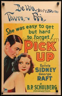 4z0192 PICK UP WC 1933 sexy Sylvia Sidney was easy for George Raft to get but hard to forget, rare!