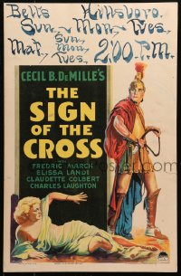 4z0194 SIGN OF THE CROSS WC 1932 DeMille, art of Fredric March about to whip Elissa Landi, rare!