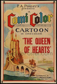 5a0009 COMICOLOR CARTOON 1sh 1930s Ub Iwerks art of knight by castle, The Queen of Hearts, rare!