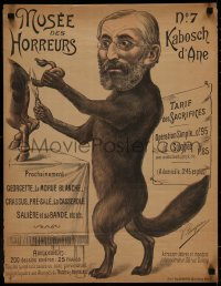 5a0037 MUSEE DES HORREURS 20x26 French special poster 1899 Lenepveu art of wolf Rabbi Kahn, rare!
