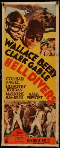 5a0007 HELL DIVERS linen insert 1932 Navy airplane pilots Clark Gable & Wallace Beery, ultra rare!