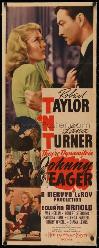 5a0008 JOHNNY EAGER linen insert 1942 sexy Lana Turner & Robert Taylor are dynamite, film noir!