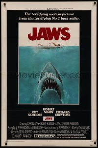5a0018 JAWS 1sh 1975 Roger Kastel art of Spielberg's man-eating shark attacking sexy swimmer!