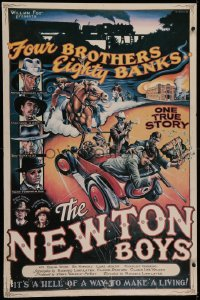5a0040 NEWTON BOYS 27x41 special poster 1998 Linklater, McConaughey, Hawke, Tim Dingle art, rare!