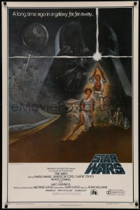 5a0015 STAR WARS first printing int'l 1sh 1977 George Lucas, Tom Jung art of Vader over Luke & Leia!