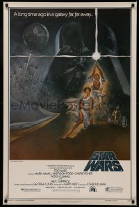 5a0014 STAR WARS first printing 1sh 1977 Tom Jung art, domestic version w/ PG rating!