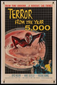 5a0011 TERROR FROM THE YEAR 5,000 1sh 1958 great art of the hideous she-thing from time unborn!