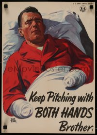 5a0036 KEEP PITCHING WITH BOTH HANDS BROTHER 14x20 WWII war poster 1944 Adolph Treidler art, rare!