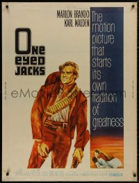 5b0362 ONE EYED JACKS 30x40 1961 art of star & director Marlon Brando with gun & bandolier!