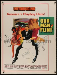 5b0364 OUR MAN FLINT 30x40 1966 Bob Peak art of James Coburn, sexy James Bond spy spoof, ultra rare!