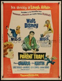 5b0366 PARENT TRAP 30x40 1961 Walt Disney, Keith, Hayley Mills as separated identical twin teens!