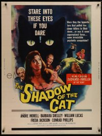5b0377 SHADOW OF THE CAT 30x40 1961 Barbara Shelley, stare into its eyes if you dare, very rare!