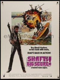 5b0378 SHAFT'S BIG SCORE 30x40 1972 great art of mean Richard Roundtree with big gun by John Solie!