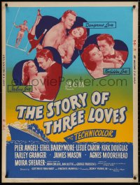 5b0382 STORY OF THREE LOVES style Z 30x40 1953 Douglas, Angeli, Caron, Granger, Mason, ultra rare!
