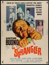 5b0383 STRANGLER 30x40 1964 sexy stars and artwork of creepy Victor Buono ripping head off doll!