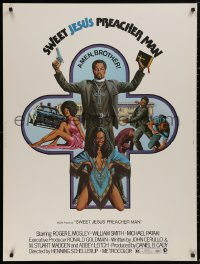 5b0384 SWEET JESUS PREACHER MAN 30x40 1973 wild art of black preacher with gun, Bible & sexy babes!